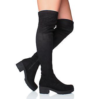 Ajvani kvinners lav midt blokkhæl tykk over kneet strekke zip gjøre narr av støvlene