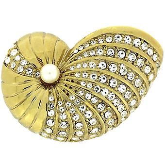 Magasin de broches doré cristal Swarovski & Pearl Sea Shell broche