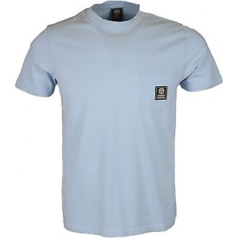 Franklin & Marshall Mf358 Cotton Round Neck Pastel Blue T-shirt