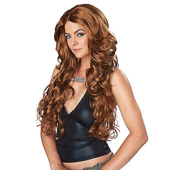 Celebrity Glam Long Wavy Glamour Light Brown Womens Costume Wig