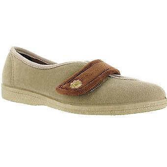 Mirak dames Andrea Touch bevestiging bloem Detail Slipper Brown