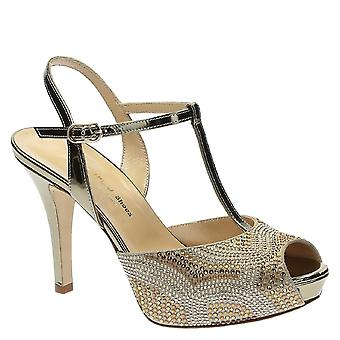 High heels ankle strap open toe sandals with platform in laminated light brown leather with strass
