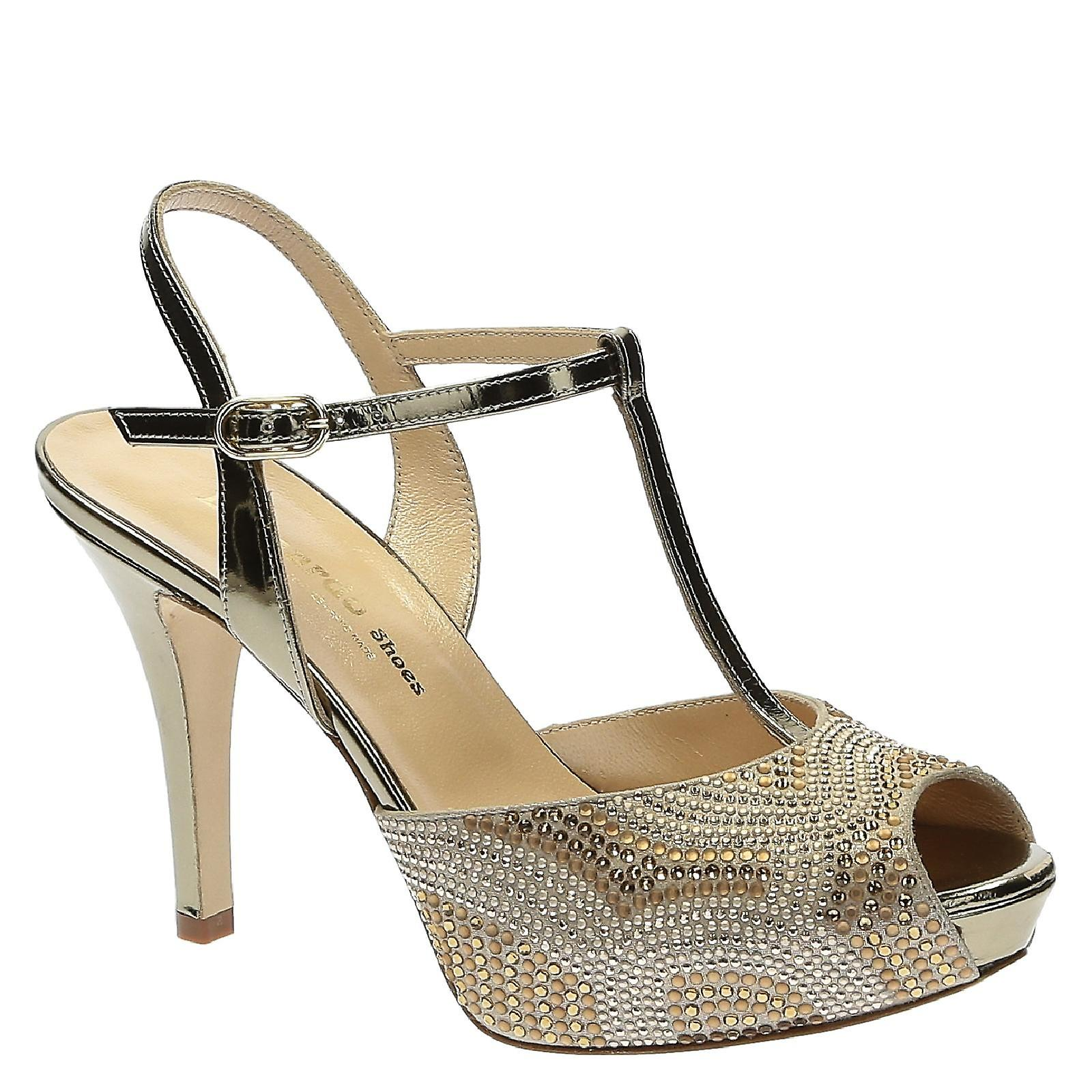 High heels sandals ankle strap open toe sandals heels with platform in laminated light brown leather with strass a18ec6