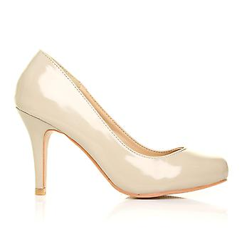 PEARL Nude Patent PU Leather Stiletto High Heel Classic Court Shoes