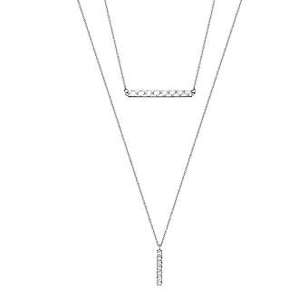 Йоп женщин цепи ожерелье нержавеющей стали серебряный современный поворот JPNL10600A450