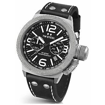 TW Steel Mens Canteen 45mm Chrono Black Leather Strap CS3 Watch
