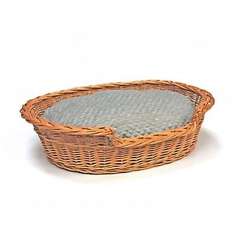 Jumbo Willow Dog Cat Pet Wicker Basket Soft Cushion
