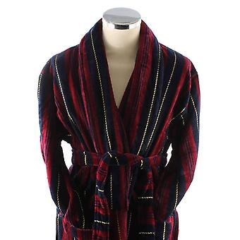 Bown of London Marchand Egyptian Cotton Velour Dressing Gown - Wine/Navy/Gold