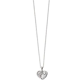 Elements Gold Diamond Heart Swirl Pendant - White Gold/Clear