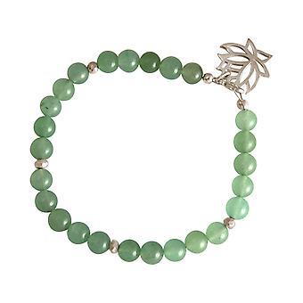 GEMSHINE Damenarmband aus 925 Silber mit YOGA Lotusblume und grüner Jade. Edelsteine hervorragender Qualität und Farbe. Made in Madrid / Spanien. Im eleganten Schmucketui mit Geschenkverpackung.