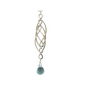 Gemshine kvinners halskjede Aquamarine kvarts 925 sølv blå INFINITY 7,5 cm