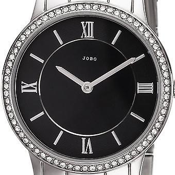 JOBO Damen Armbanduhr Quarz Analog Edelstahl mit Kristall ELEMENTS Damenuhr