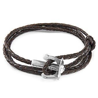 Dark Brown Union Anchor Silver and Braided Leather Bracelet