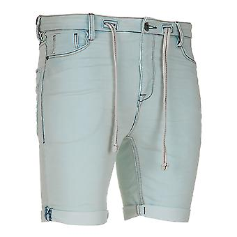 Sub level men's sweat denim pants of shorts light blue