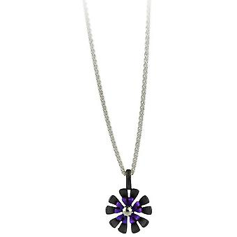 Ti2 Titanium Black Back Ten Petal Flower Pendant - Imperial Purple