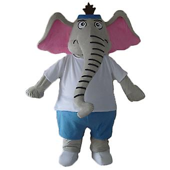 mascot elephant gray and pink, blue and white uniformed SPOTSOUND
