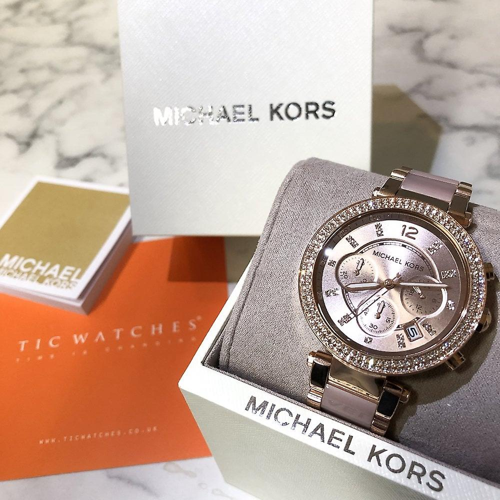 Michael Kors Watches Mk5896 Parker Two Tone Rose Gold Ladies Chronograph Watch