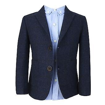 Kinderen marineblauw Tweed met bruin Check 4 stuk pak door Couche Tot
