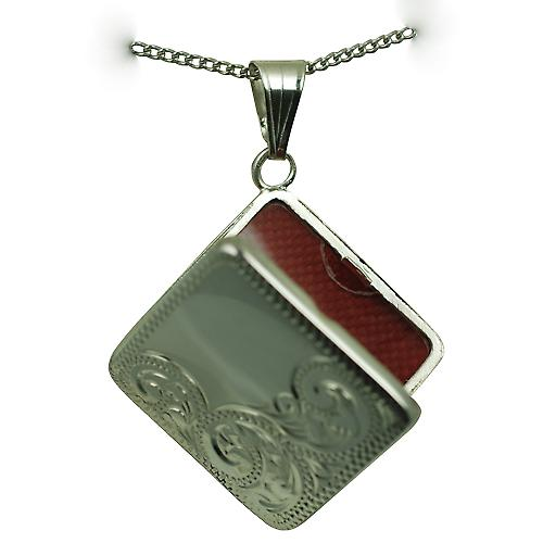 Silver 22mm half hand engraved flat diamond shaped Locket with a curb Chain 18 inches