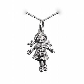 Silver 19x13mm moveable Rag doll Pendant with a curb Chain 24 inches