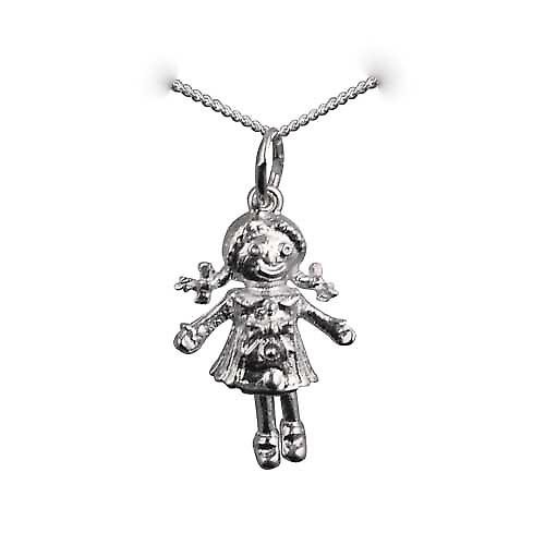 Silver 19x13mm moveable Rag doll Pendant with a curb chain