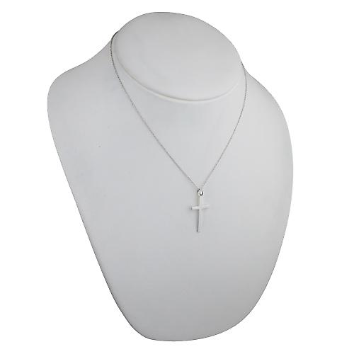 Silver 30x17mm plain solid block Cross with a rolo chain