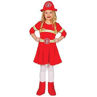 Traje de fantasia de bombeiro das meninas