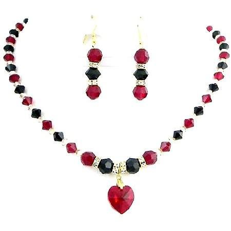 Handmade Jewelry In Siam Red Jet Golden Shadow Party Wear Necklace Set