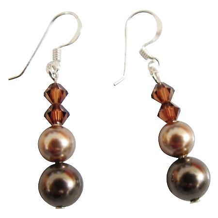 Designer Swarovski Brown & Bronze Pearls Silver Hook Earrings