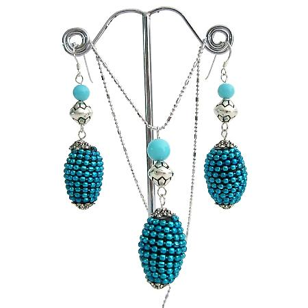 Studed Bead Embedded Oval Pendant Earrings Ethnic Jewelry Set