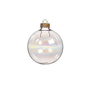 6 Fillable 70mm Iridescent Glass Ball Christmas Bauble Ornaments