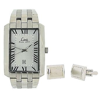 Limit Gents Date Silver Tone Metal Bracelet Watch & Cufflinks Gift Set 5459G.45