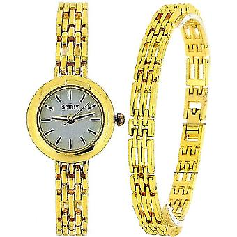 Spirit Ladies Analogue Goldtone Watch & Bracelet Gift Set ASPL52