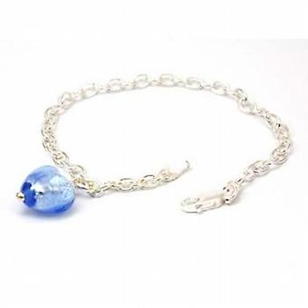 Toc Sterling Silver Bracelet with Blue Murano Glass Heart Charm