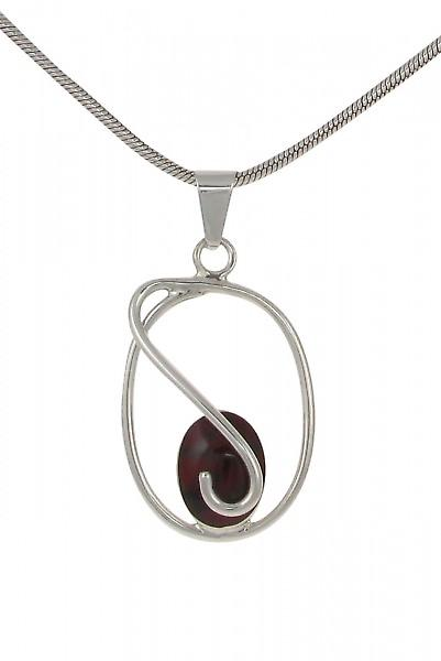 Cavendish French Sterling Silver and Formed Red Jasper Small Swirl Pendant