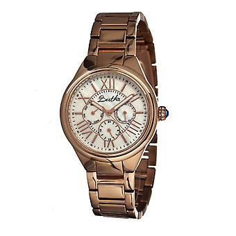 Bertha Rachel Ladies Bracelet Watch w/Day/Date - Rose Gold/White