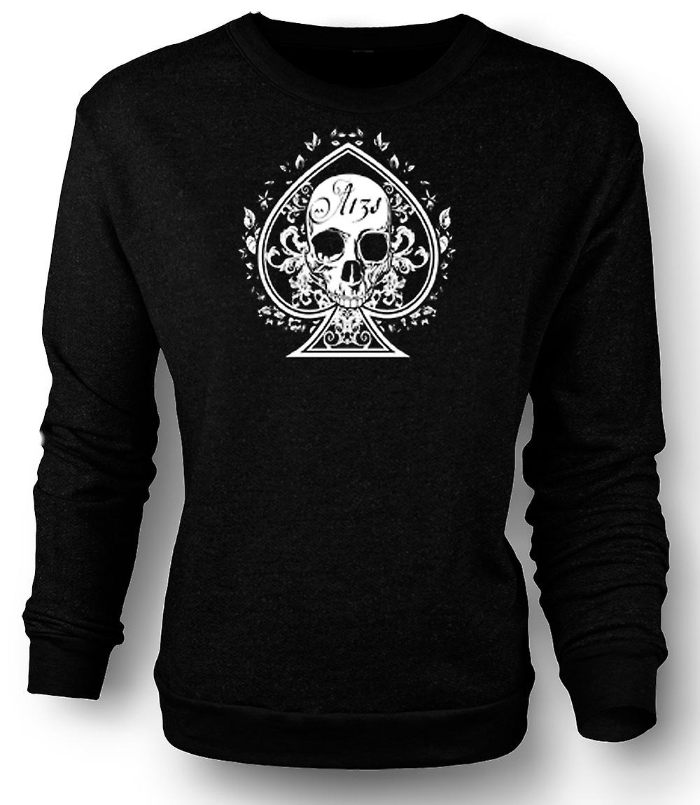 Mens Sweatshirt Skull Us Biker Ace Of Spades