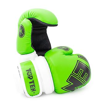 Top Ten Glossy Block Pointfighter Handschuhe Grün/Weiß