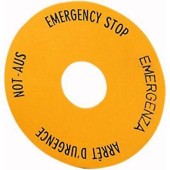 Label round (Ø) 60 mm EMERGENCY STOP Yellow Eaton SRT1 1 pc(s)