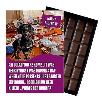 Dachshund rolig födelsedag gåvor för hundälskare boxed choklad gratulationskort present