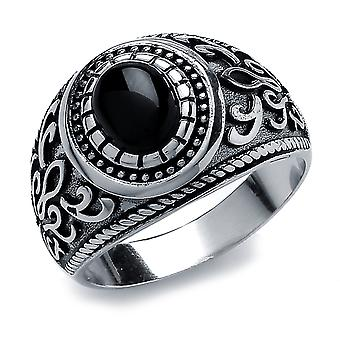 Jewelco London Men's Rhodium Plated Sterling Silver Black Oval Onyx Carved Cabochon Signet Ring