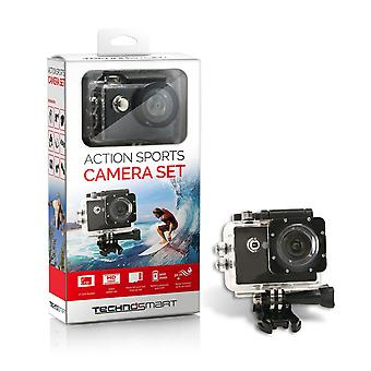 TECHNOSMART Full HD 1080P ActionCam, Wasserdichte Aktionkamera, Unterwasserkamera, Sport Action Camera, mit 2 Zoll LCD Bildschirm, 900 mAh Li-ion Akku mit Zubehör Kits