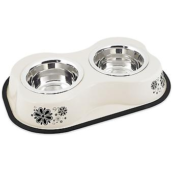 Bone Shaped Double Diner W/2 1pt Stainless Steel Bowls-Flower Pattern Ivory BONE-DD-6080