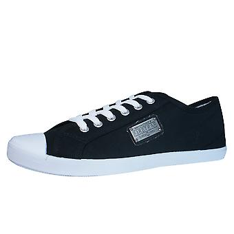 Firetrap Charlie Plate Mens Canvas Trainers / Shoes - Black & White