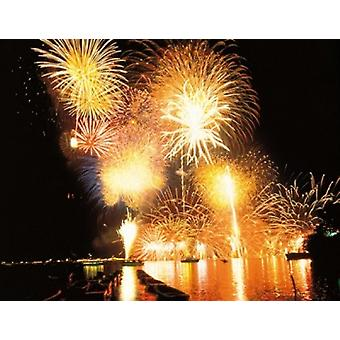 Fireworks display in night Poster Print by Panoramic Images (24 x 19)