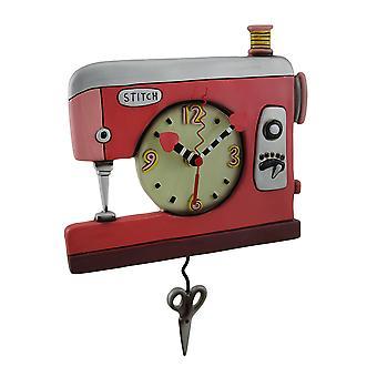 Orologio a pendolo doppio punto colorato rosso macchina da cucire