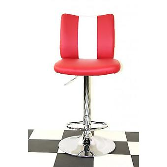 Bostony Retro Style Kitchen Breakfast Bar Stool American Diner Style Red Padded Seat Height Adjustable