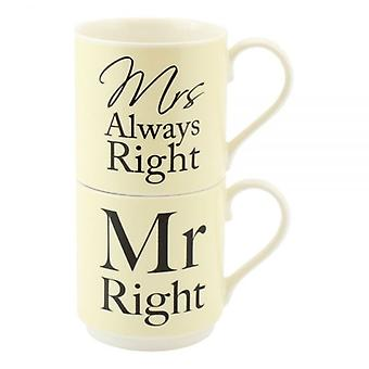 MR&MRS ALWAYS RIGHT STACK TEA COFFEE MUGS GIFT BOX