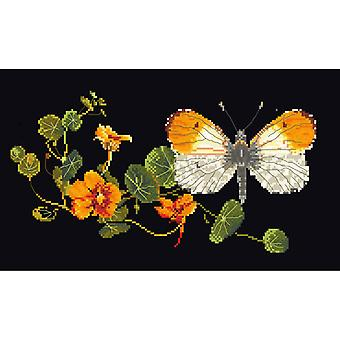Butterfly-Nasturtium On Aida Counted Cross Stitch Kit-11.5