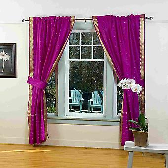 Indo Violet rouge onglet Top Sari rideau fin (43 x 84 po) w / embrasse correspondant